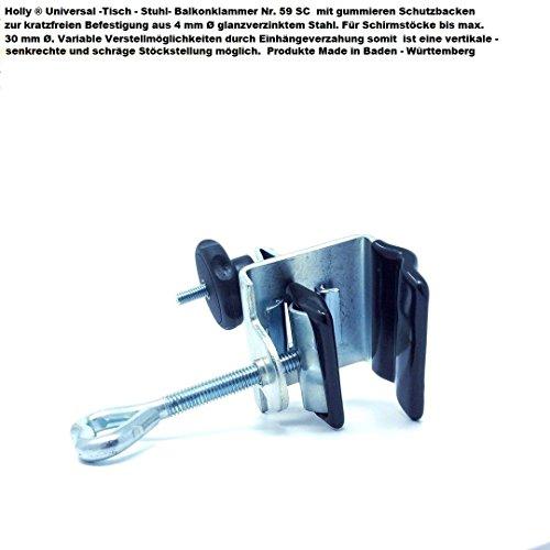 Mit Spannbackenöffnung bis 35 mm Ø - Schrägverzahnter 30 mm Ø - SONNENSCHIRM- HALTER - Tisch-Stuhl-Schirmhalter Nr. 59SC - STABIELO - MIT - 2 - GUMMISCHUTZKAPPEN (3,50 EUR) zur kratzfreien BEFESTIGUNG + RÄNDELMUTTER - Holly ® Produkte STABIELO ® - holly-sunshade ® - MADE in BADEN WÜRTTEMBERG - - Tisch-befestigung