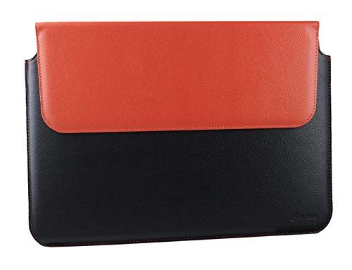 Neopren-laptop-halter (emartbuy Schwarz/Orange PU Leder Magnetisches Kasten Folio Tasche Mappen Kasten Abdeckung Hülse 13.3 Zoll - 14.1 Zoll Geeignet Für Ausgewählte Geräte Unten Aufgeführt)