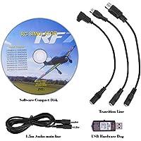 Alomejor - Simulador de Vuelo USB 22 en 1 RC Cable Adaptador de simulador de Vuelo USB para Realfly Phoenix/XTR/G4/G5/Aero Fly/FMS