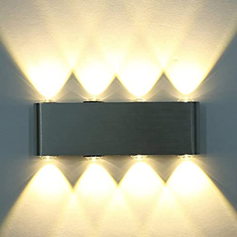 8W LED Wall Light, PHOEWON Modern Led Wall Sconce Lights Aluminium Spot Light Night Lamp for Living Room, Bedroom, Hall, Staircase, Pathway, Lighting Indoor Up Down (Warm White)