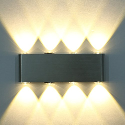 Wandleuchte LED Innen, PHOEWON 8W Modern LED Licht Wandlampe Aluminium Leuchten Wandlicht Oben Unten Lampen Spotlicht, Wandleuchte für Schlafzimmer, Wohnzimmer, Korridor (Warmweiß) (Weiße Weiche, Perle)