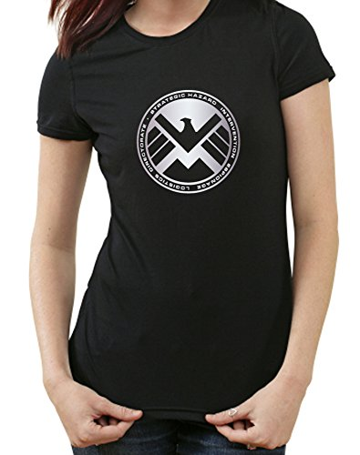 S.H.I.E.L.D. Logo T-Shirt, shield, XXL, Ladies schwarz (Logo Shield Shirt)