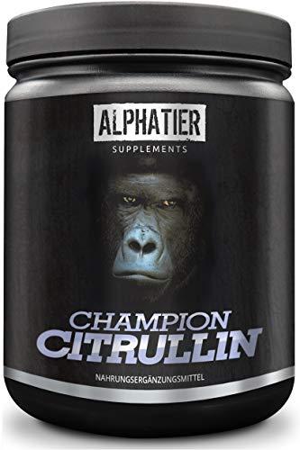 ALPHATIER CHAMPION L-CITRULLIN Malat Pulver 500g - maximale Dosierung - Pump Effekt - Fitness und Bodybuilding - höchste Reinheit aus Deutschland - mit Piperin