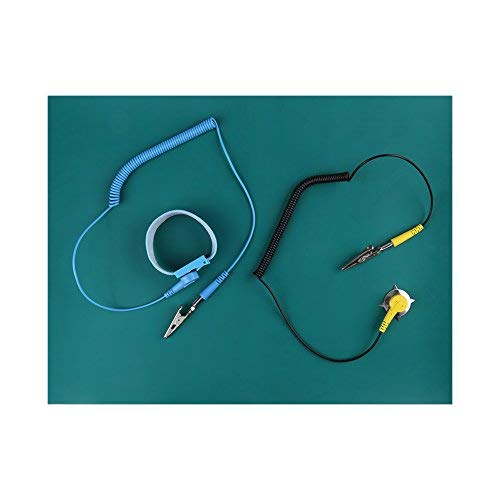 WALFRONT Antistatische Handgelenkband-Set, ESD Mat, Antistatisch, elektrostatisch, Silikonmatte + Armband + 2 Stück Kabel
