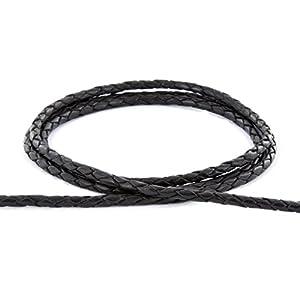 – Boloband 3mm – Lederband geflochten Farbe: schwarz / Länge: 1m