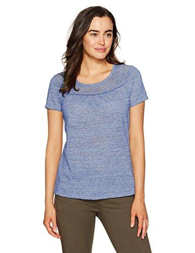 Hanes Damen Short Sleeve Peasant Lace Tee Hemd, New Blue Dream, 2 X Large -