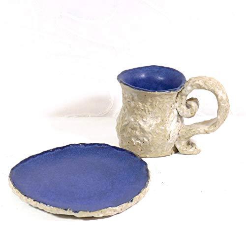 Keramunzel KERA-Mystic 1 Set Teller und Tasse Lavagesteinoptik sehr rustikal + naturell + elementar Handmade Nr KM 149 Kunstwerk von Rea Bien -
