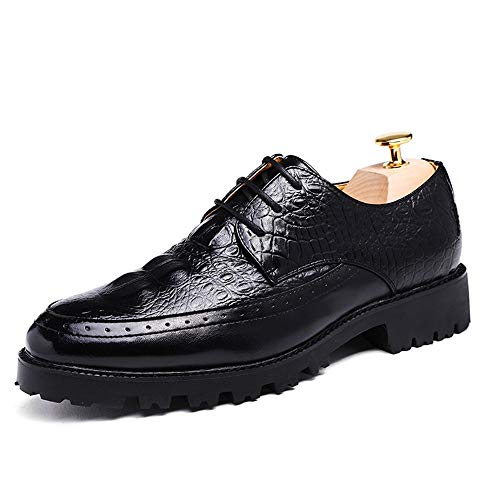 Scarpe basse formali da uomo business oxford fashion stampa coccodrillo con punta in pelle color cuoio per il tempo libero per lavoro business evening party ( color : nero , dimensione : 37 eu )