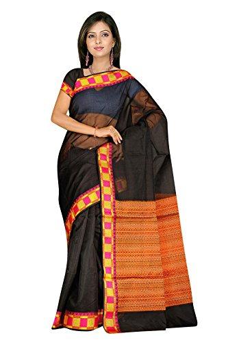 Black resham woven plain cotton silk sarees