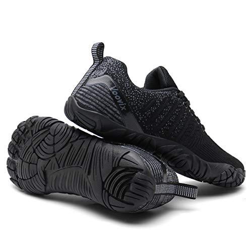 Voovix Herren Trekkingschuhe Damen Wanderschuhe Barfußschuhe Laufschuhe Traillaufschuhe Knit Sneaker Fitnessschuhe im Sommer black/grey36