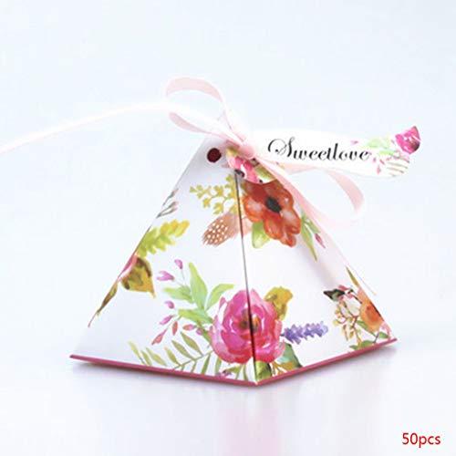 fgyhtyjuu 50pcs Triangles Blumen-Süßigkeit Schokolade Papier Geschenk-Box für Hochzeit Geburtstag Tea Party