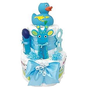Windeltorte Badeentchen Hugo Blau oder Rosa 30tlg. Geschenk zur Taufe oder Geburt Geschenkfertig in Celophan verpackt. Auf Wunsch mit kostenlosen Grußkärtchen und Wunschtext. Junge oder Mädchen
