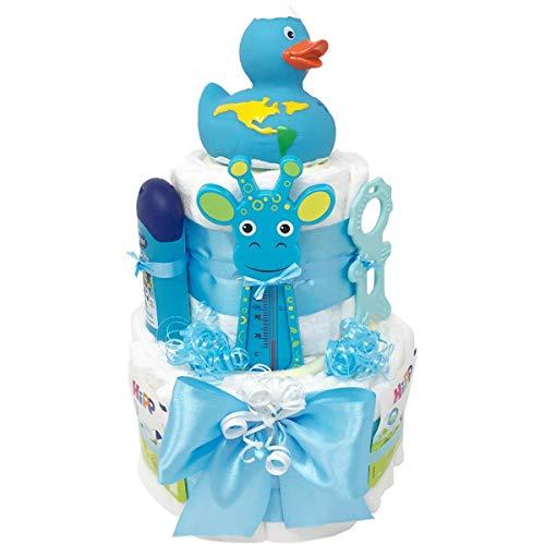 """Windeltorte Badeentchen\""""Hugo\"""" Blau Geschenk zur Taufe oder Geburt Geschenkfertig in Celophan verpackt. Auf Wunsch mit kostenlosen Grußkärtchen und Wunschtext. Junge (Blau)"""