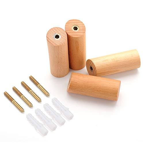 Kleiderhaken, aus natürlichem Holz, zur Wandmontage, Einzelhaken, Kleiderhaken, Handtuchhalter, Vintage, handgefertigt, 4 Stück 3.2 inch (8CM) buchenholz -