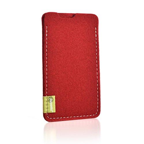 """ALMWILD® Hülle Tasche für Apple iPhone X MIT Apple Leder Case / Silikon Case. Modell """"Dezenzi"""" in Rot aus Natur- Filz. Handyhülle Handytasche in Bayern handgefertigt (Tasche Handgefertigte Rote)"""