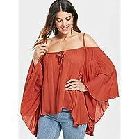 DRESSFO Blouses For Women, Red XL
