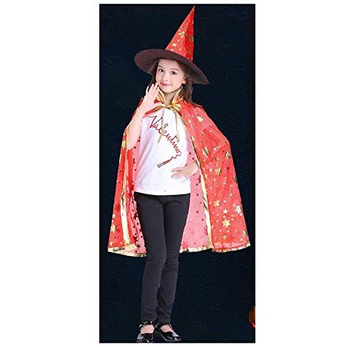 YaPin Kinder Halloween Mantel Männer und Frauen Leistung Kostüme Spielen Hexe Magier Hexe fünf Sterne Mantel Kappe rot (Size : L)