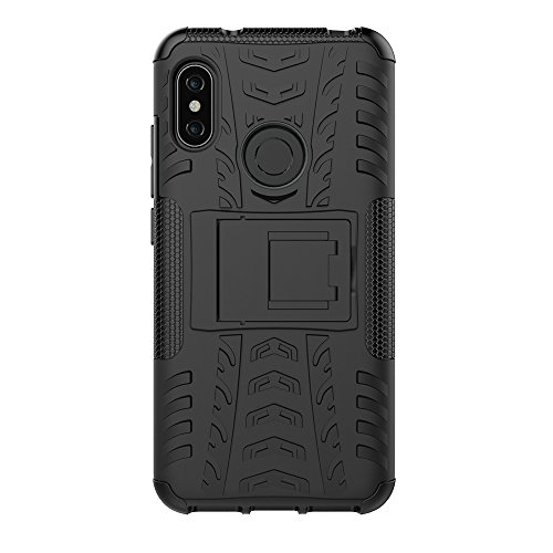 CASSIEY Redmi 6 Pro/Xiaomi Mi A2 Lite Heavy Duty Shockproof Military Grade Armor Dual Protection Layer Hybrid Kick Stand Back Cover Case for Redmi 6 Pro/Xiaomi Mi A2 Lite - Black