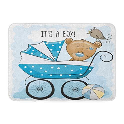 Bad Teppiche Outdoor/Indoor Fußmatte Spielzeug Seine Junge Kinderwagen und Teddybär animierte Babys Ball Vogel Badezimmer Dekor Teppich Badematte ()