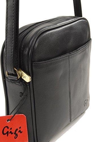 Umhängetasche Klein Leder von Gigi - GRÖßE: B: 18 cm, H: 18 cm, T: 6 cm Schwarz