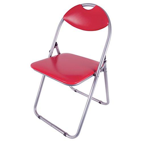 Klappbar Stuhl (Benross Paris Kunstleder und Stahl zusammenklappbar Esszimmerstuhl, 43,5x 46x 79.7cm, rot)
