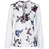 YANG YI Clearance Offer Women's Casual Stylish V Neck Long Sleeves Large Size Floral Print Tops T-Shirts & Shirts Sequined Blouse - B07KK61S62