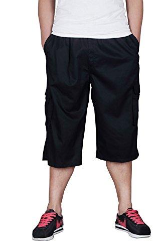 Stitch Denim Kurze (lässig Fett Man Höschen Dünger abgeschnitten Hose Tight/Hip Hop Männer lose Hosen zuzüglich Größe schwarz 5XL)