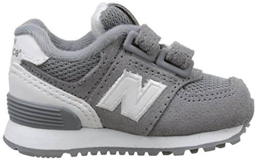 New Balance 574 Hook and Loop High Visibility, Baskets Basses Mixte Enfant Gris (Grey)