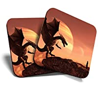 Great Coasters (Set of 2) Square/Glossy Quality Coasters/Tabletop Protection for Any Table Type - Dragon & Knight Fantasy Landscape #16487