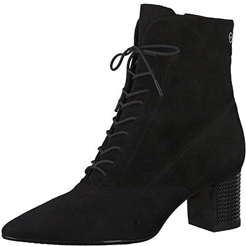 Patent-leder-stiefel (Tamaris Damen Schnürstiefelette 25133-31,Frauen Stiefel,Chukka Boot,Halbstiefel,Schnürboots,Bootie,Reißverschluss,Blockabsatz 5.5cm,Black,EU 38)