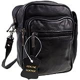 Men's Unisex Small Black Leather Bag Travel Organiser Pouch Camera Man Bag with belt loop or shoulder strap