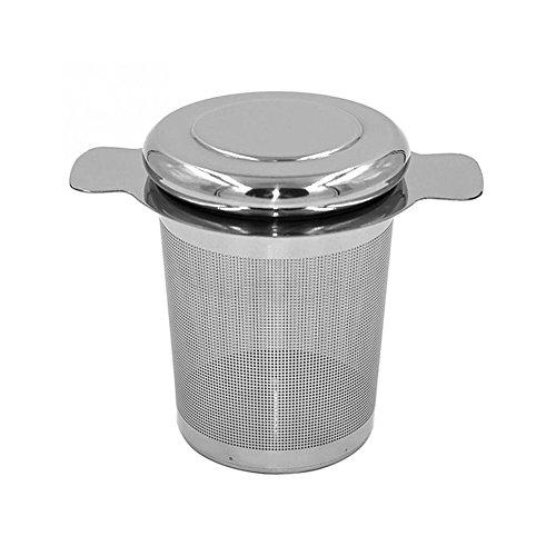 Edelstahl-doppel-griff (Lovemay Teefilter aus Edelstahl Teesieb für Losen Tee und Mulling mit Doppel-Griff und Abtropfschale/Deckel für Tasse/Teekanne/Tee-Töpfe)