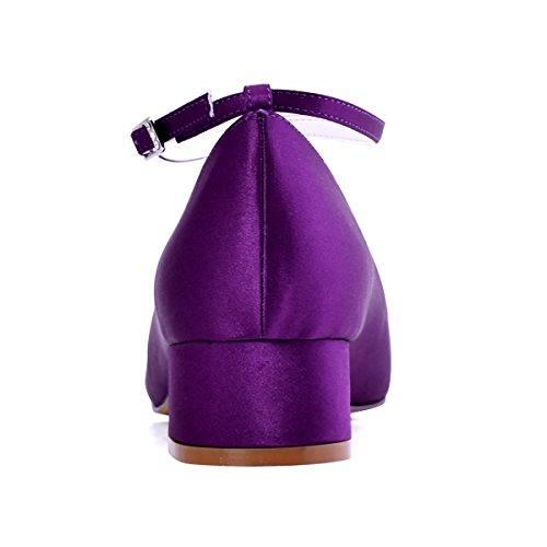 ElegantPark Donna Punta Chiusa Tacco Grosso Cinturino A T Pompe Satin Abito Da Sposa Scarpe Da Sera Viola