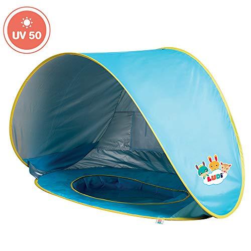 Ludi Piscine Multifonction en Tissu avec Protection UV 50 - dès la Naissance - Tente composée d'Une Piscine avec Filet, d'Un auvent et d'Une Serviette éponge | Tente de Plage
