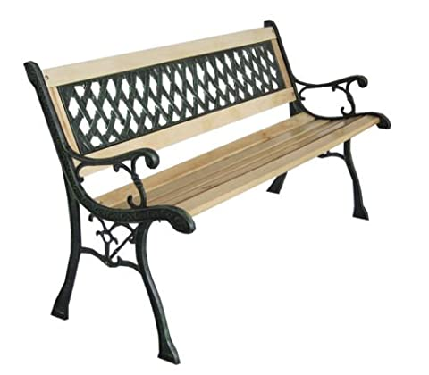 MASCARELLO® New 3 Seater Outdoor Home Wooden Garden Bench with Cast Iron Legs Seat Furniture