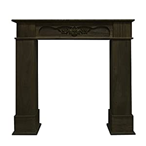Rebecca srl Mantelpiece Fire Surround Furniture Natural Wood Brown color with decoration in the middle and nice top shelf decorative Vintage Retro Chic (Cod. 0-1773)