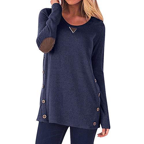 Vimoli Blusen Damen Tops Langarm Rundhalsausschnitt Knopf Sweatshirt Casual Lose Pullover(Blau,S) -