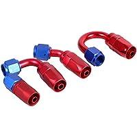 Qiilu AN6 Racing aceite/Línea de combustible manguera extremo giratorio adaptador macho de montaje Color rojo azul(AN6-0°)