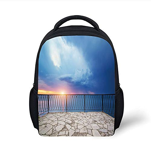 Kids School Backpack Modern Decor,Balcony View Landscape of Ocean Sea as Sunset or Dawn Photo,Light Blue White and Lilac Plain Bookbag Travel Daypack Blue Dawn Cup