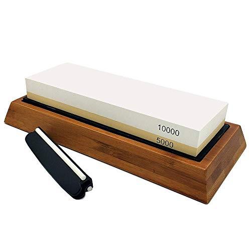 Premium-Schärfstein 2 Seitenkorn 10000/5000 Schleifstein Bester Küchenmesserschärfer Waterstone mit rutschfester Bambusbasis & Abflachungsstein