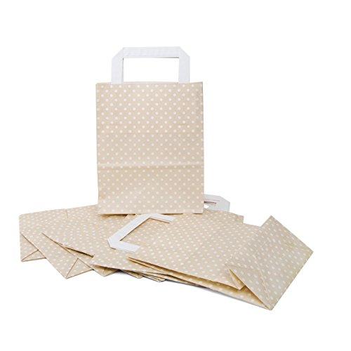 25 kleine beige weiß creme-farben gepunktete Papiertaschen Geschenktaschen mit Henkel 18 x 8 x 22 cm Tüten give-away Mitgebsel Geschenk-Verpackung Geschenktüten Ostertüten