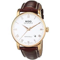 MIDO Baroncelli Ii 38mm M86002268 - Reloj de caballero automático, correa de piel color marrón