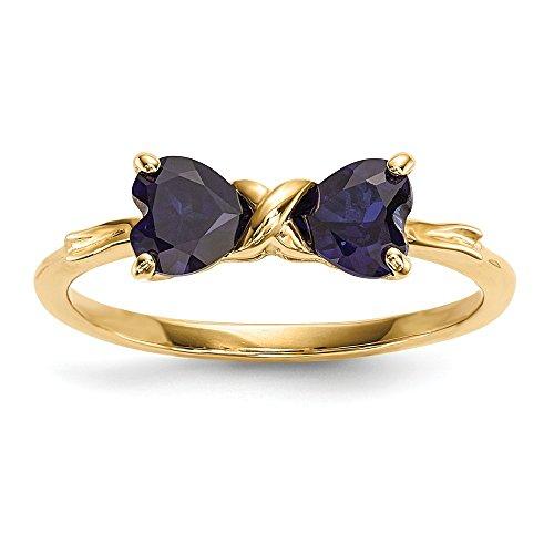 14ct oro pulido creado zafiro anillo de lazo