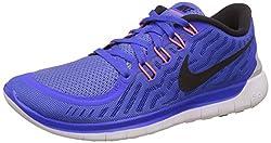Nike Womens Nike Free 5.0 Racer Blue, Black and White Running Shoes - 4 UK/India (36.5 EU)(4.5 US)