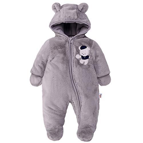 Baby Schneeanzüge Winter Overall mit Kapuze Fleece Strampler Mädchen Jungen Warm Outfits Grau 9-12 Monate