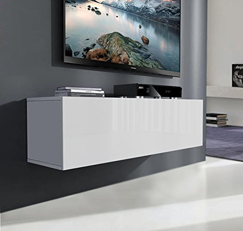 muebles bonitos Mueble TV modelo Luke (100 cm) Blanco brillo entero
