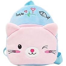 Tinksky Bolso de escuela para niños Bolso de dibujos animados de animales de gato azul mochila de berenjena para bebés 1-2 años de regalo de cumpleaños de Navidad para niños