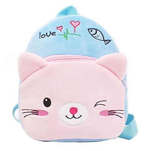 Tinksky Sac d'école pour tout-petits Sac à dos à épaule pour bébé pour bébé Cartoon Blue Cat Animal pour bébé 1-2 ans Cadeau d'anniversaire pour