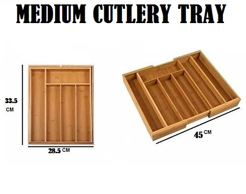 Bamboo Expandable Wooden Cutlery Tray Holder Tidy Drawer Draw Organiser Storage (Medium)