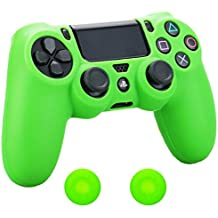 Pandaren® Silikon hülle skin Schutzhülle für PS4 controller (grün) x 1 + thumb grip aufsätze x 2